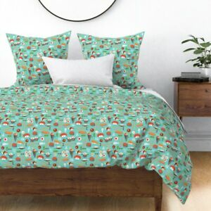 Sushi Japanese Cute Food Chopsticks Rice Kawaii Sateen Duvet Cover by Roostery
