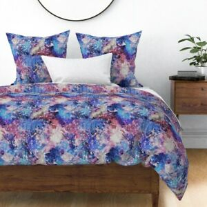 Galaxy Space Star Purple Stars Planets Milky Way Sateen Duvet Cover by Roostery