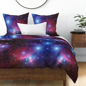 Purple Galaxy Celestial Nebula Stars Sky Space Sateen Duvet Cover by Roostery