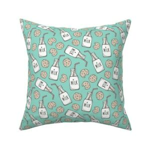 Milk Breakfast Food Sweets Throw Pillow Cover w Optional Insert by Roostery