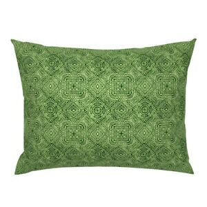Mexican Aztec Antique Green Tribal Wordly Monochrome Pillow Sham by Roostery
