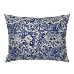 Blue China Dish Ceramic Porcelain White Mexican Talavera Pillow Sham by Roostery