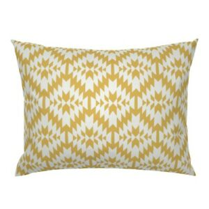Tribal Geo Mexican Geometric Yellow White Geo Yellow Pillow Sham by Roostery