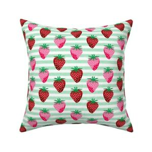 Strawberry Strawberries Food Throw Pillow Cover w Optional Insert by Roostery