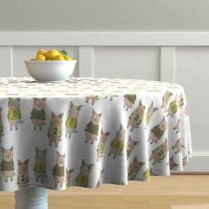 Round Tablecloth Three Little Pigs Pig Farm Fairy Tale Numbers Cotton Sateen