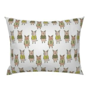 Three Little Pigs Pig Farm Fairy Tale Numbers Nursery Pillow Sham by Roostery