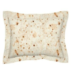 Tortilla Burrito Food Mexican Beige Rocks Wrap Southwest Pillow Sham by Roostery