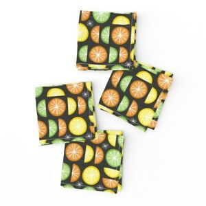 Cocktail Napkins Food Citrus Mod Retro Atomic Lemon Lime Set of 4