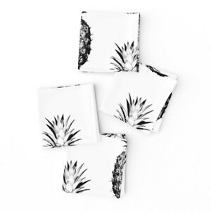 Cocktail Napkins Food Pineapple Fruit Tropical Black Set of 4