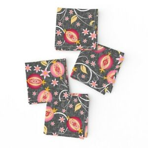 Cocktail Napkins Pomegranate Food Red Botanical Fruit Pomegranates Cozy Set of 4