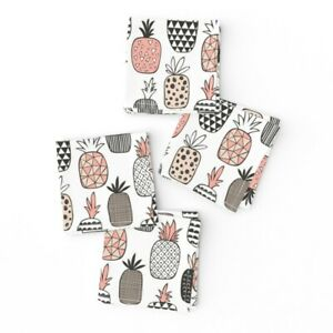 Cocktail Napkins Geometric Food Summer Fruit Hawaii Pineapples Set of 4