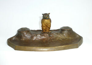 Inkwell Viennese Bronze about 1900 Sign Carl Kauba Owl $1384.84