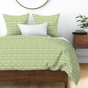Asparagus Kitchen Decor Food Vegetable Cute Green Sateen Duvet Cover by Roostery