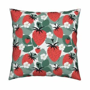 Leaves Food Strawberries Red Throw Pillow Cover w Optional Insert by Roostery