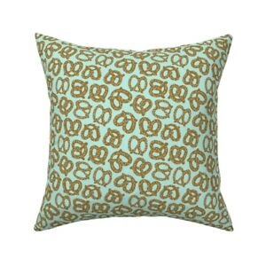 Pretzel Food Snack Aqua Throw Pillow Cover w Optional Insert by Roostery