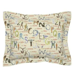 Mythical Beasts Alphabet Letters Typography Monster Pillow Sham by Roostery