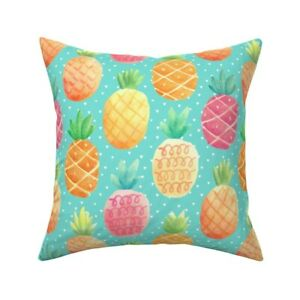 Fruit Pineapple Hawaii Food Throw Pillow Cover w Optional Insert by Roostery