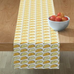 Table Runner Kawaii Taco Food Cute Cookout Mexican Cotton Sateen