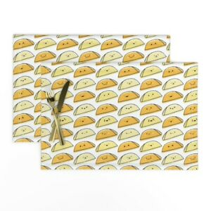 Cloth Placemats Kawaii Taco Food Cute Cookout Mexican Set of 2