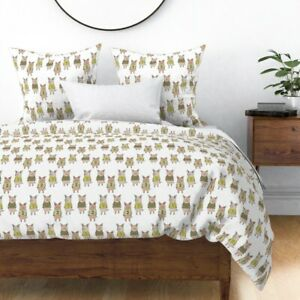 Three Little Pigs Pig Farm Fairy Tale Numbers Sateen Duvet Cover by Roostery