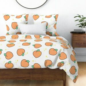 Peaches Summer Fruit Cute Food Kitchen Sparkles Sateen Duvet Cover by Roostery
