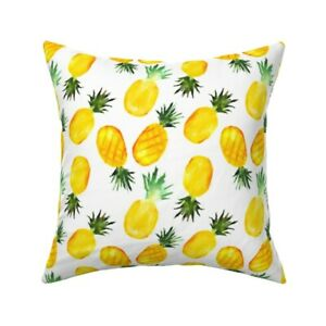 Pineapple Food Yellow Tropical Throw Pillow Cover w Optional Insert by Roostery