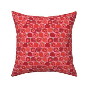 Strawberry Fruit Food Berry Throw Pillow Cover w Optional Insert by Roostery