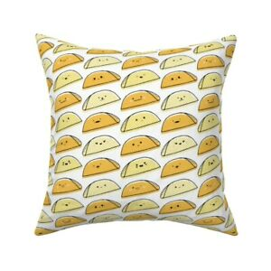 Kawaii Taco Food Cute Cookout Throw Pillow Cover w Optional Insert by Roostery