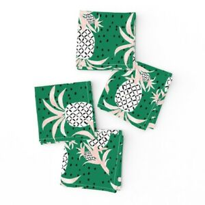 Cocktail Napkins Pineapple Food Green Tropical Summer Fruit Set of 4