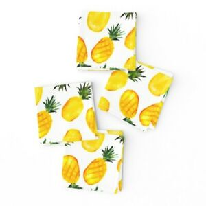 Cocktail Napkins Pineapple Food Yellow Tropical Summer Fruit Watercolor Set of 4