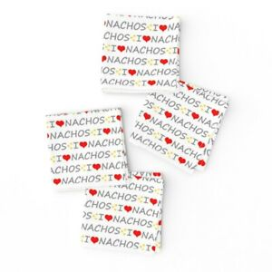 Cocktail Napkins Nachos Mexican Food Heart Love Set of 4