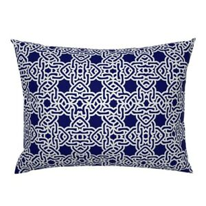 Spanish Tile Blue White Mexican Moroccan Navy Outdoor Pillow Sham by Roostery