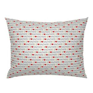 Nachos Mexican Food Heart Love Pillow Sham by Roostery