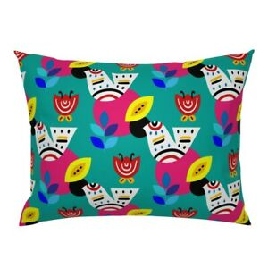 Parajito Kahlo Birds Mexican Colourful Blue Animal Bird Pillow Sham by Roostery