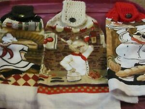 LOT OF 3  NEW HAND CROCHETED TOP KITCHEN TOWELS PIZZA, BREAD, PASTA COOK