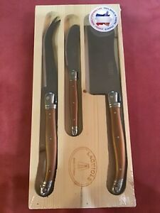 Laguiole CHEESE KNIFE SET 3 Pc: FORK CLEAVER SPREADER Charcuterie COPPER SS NEW