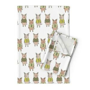 Three Little Pigs Pig Farm Fairy Linen Cotton Tea Towels by Roostery Set of 2