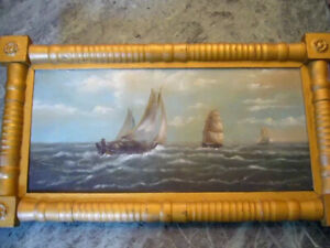 Antique Oil Painting Ships Stormy Seas Seascape  Sailboat Signed Documents