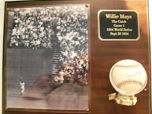 Willie Mays autographed ball 1954 World SeriesThe Catch plaque