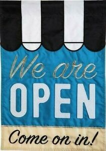 WE ARE OPEN double applique House Flag - 28