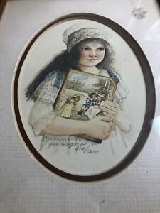 Jan Hagara Ltd. Edition 1978 Girl Holding Picture Lithograph.