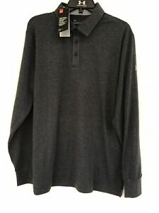 NWT UNDER ARMOUR HEAT GEAR CHARGED COTTON GOLF POLO LONG SLEEVED SIZE LARGE $29.99