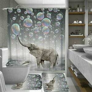 3D Printing Bubbles Elephant Shower Curtain Toilet Cover Mat Waterproof New