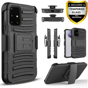 For Samsung Galaxy A51 A71 5G Case Armor Belt Clip Tempered Glass Protector