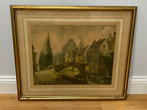 Vintage Antique French Lithograph Print The Road Over The Bridge $135.00