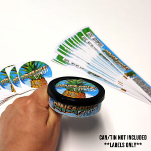 30 - Pineapple Express Cali Labels Stickers for 3.5g Tuna Can Tin Self Seal