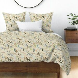 Mythical Beasts Alphabet Letters Typography Sateen Duvet Cover by Roostery