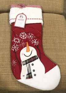 Pottery Barn Kids Christmas Quilted Red Snowman amp; Snowflakes Stocking No Mono