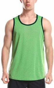 Mens Dry Fit Tank Tops Sleeveless Shirts for Gym Running Workout Green Medium $11.35