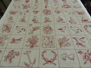 EARLY Red amp; White QUILT 49 Hand Embroidered Squares 72quot; by 72quot; Red Work abt 1910